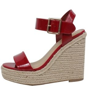 Shoes - Red Open Toe Ankle Strap Espadrille Wedge